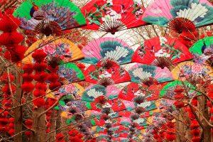 Paper Fans Red Lanterns